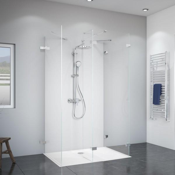 Panorama zwei Duschwände mit festem Element über Eck und Seitenwand, rahmenlos Wandwinkel außen