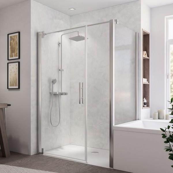 Europa Design Badewannenseitenwand rechts für Drehtür mit Nebenteil