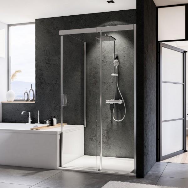 Duschkabine Panorama: Badewannenseitenwand für Schiebetür