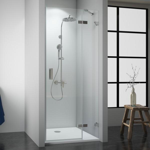 Duschkabine Panorama: Drehtür mit Festteil für Nische rahmenlos