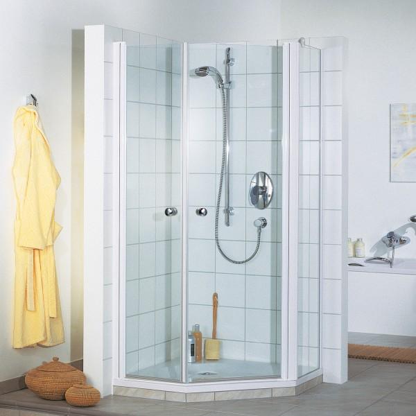 Elana 5-Eck Dusche mit zwei Drehtüren und Nebenteil, Anschlag rechts