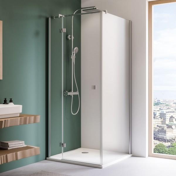 Espira: Drehtür mit Festteil für Seitenwand oder Badewannenseitenwand, links