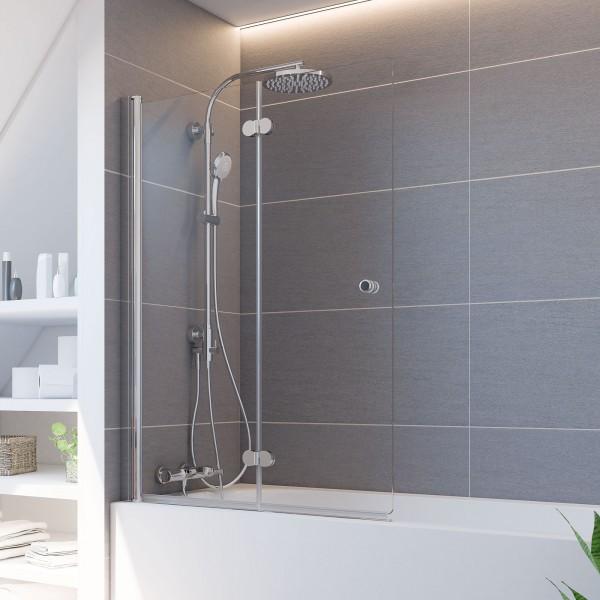 Elana Komfort Badewannenaufsatz, Drehfalttür 2-teilig, Anschlag links