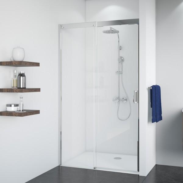 Duschkabine Panorama: Soft & Silent Schiebetür links für Nische