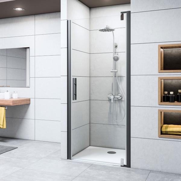 Duschkabine Europa Design: Drehtür Nische, mattschwarz