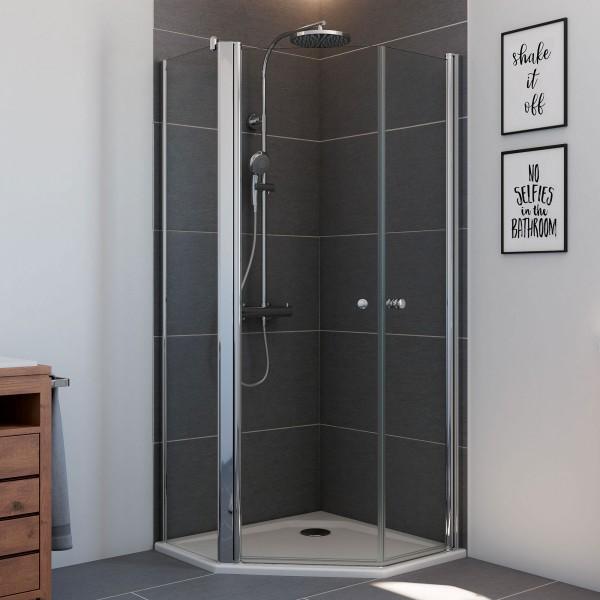 Elana 6, 5-Eck Dusche mit zwei Drehtüren und Nebenteil links