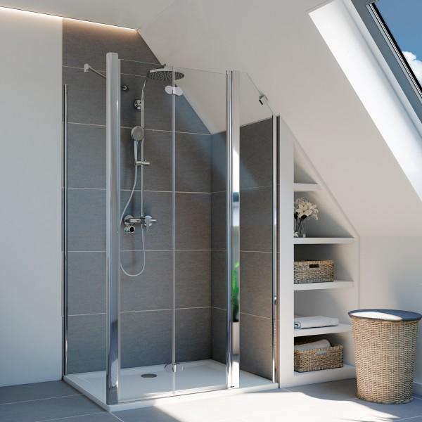 Elana Komfort Drehfalttür mit Festteil für Seitenwand/Badewannenseitenwand, Anschlag rechts