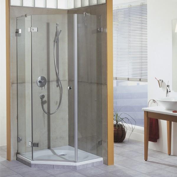 First Glass 5-Eck Dusche mit Drehtür, Anschlag links, Außenöffnung
