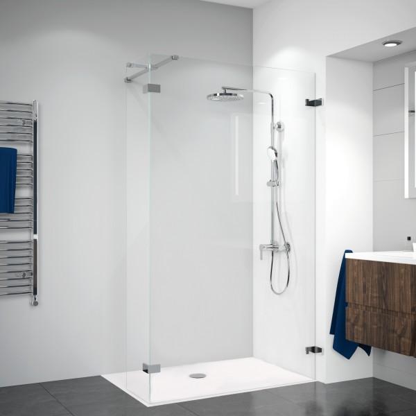Duschkabine Panorama: Duschwand mit festem Eckelement, rahmenlos