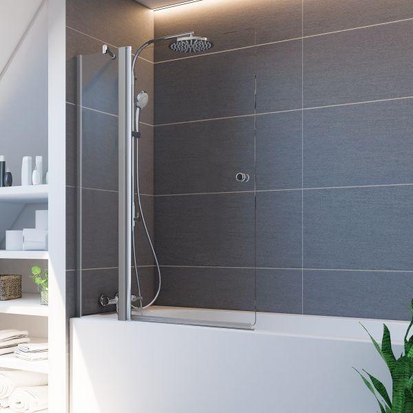Elana 6 Badewannenaufsatz Pendeltür mit Festteil, Anschlag links