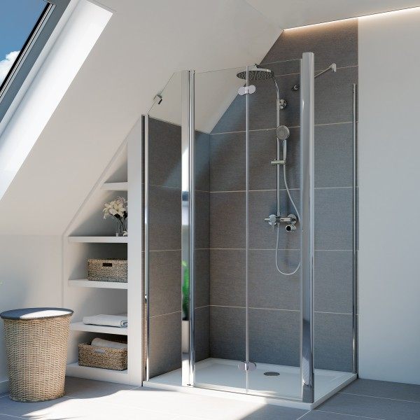 Elana Komfort Drehfalttür mit Festteil für Seitenwand/Badewannenseitenwand, Anschlag links