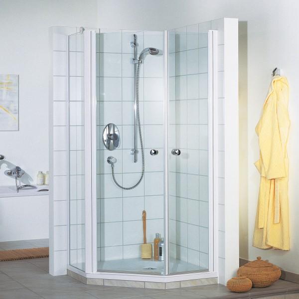 Elana 5-Eck Dusche mit zwei Drehtüren und Nebenteil, Anschlag links