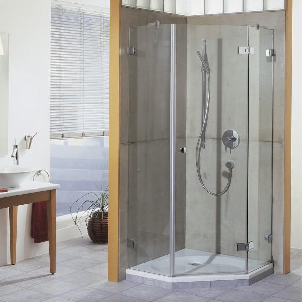 First Glass 5-Eck Dusche mit Drehtür, Anschlag rechts, Außenöffnung