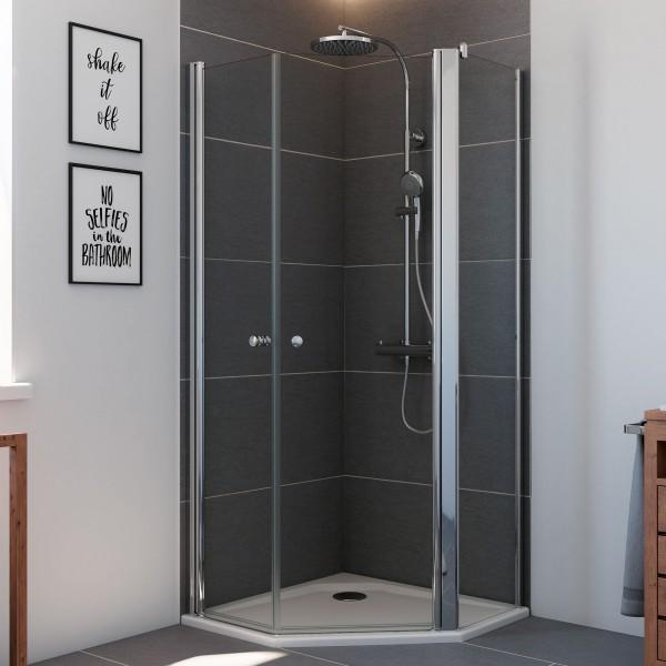 Elana 6, 5-Eck Dusche mit zwei Drehtüren und Nebenteil rechts