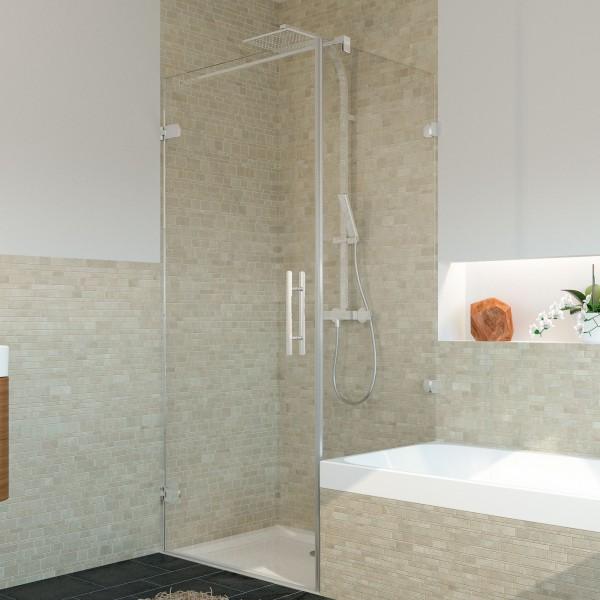 Avanta Drehtür mit Badewannenseitenwand, Anschlag links, rahmenlos