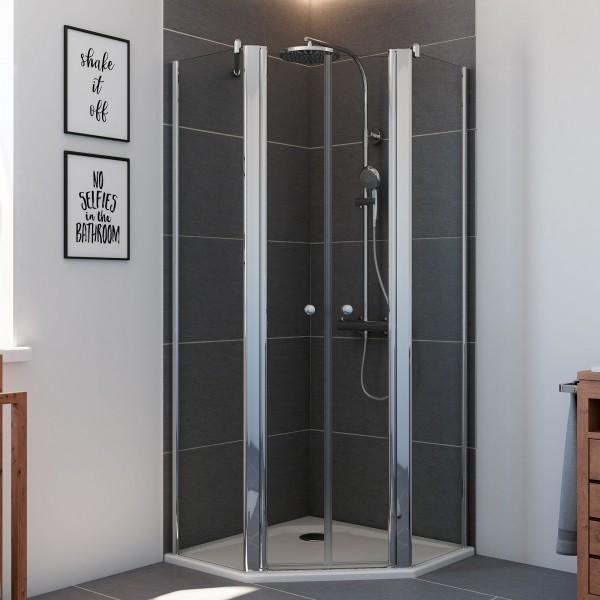 Elana 6, 5-Eck Dusche mit Pendeltüren