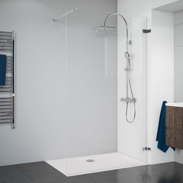 Duschkabine Panorama: Duschwand alleinstehend rahmenlos, Wandwinkel aussen