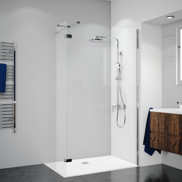 Duschkabine Panorama: Duschwand mit festem Element über Eck